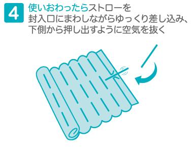 4使いおわったらストローを封入口にまわしながらゆっくり差し込み、下側から押し出すように空気を抜く